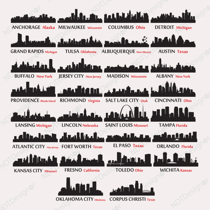 US City Skyline #2 Svg/Eps/Png/Jpg/Cliparts,Printable, Silhouette and Cricut