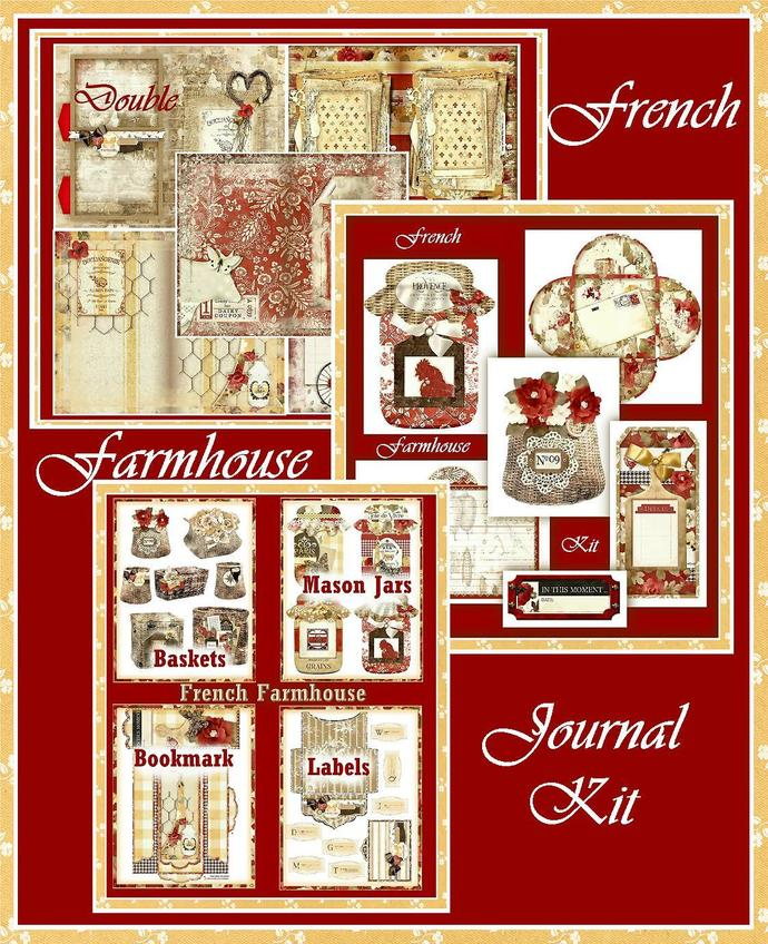 French Farmhouse Junk Journal Collection Kit - 5 Backgrounds, 10 Double Page
