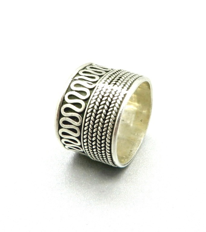 Vintage Sterling Silver Scrolled Ring - Wide Band Boho Braided Ring