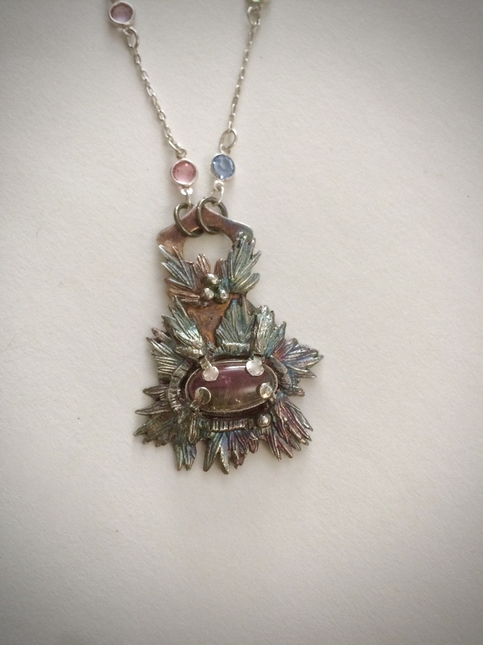 Watermelon tourmaline necklace, tourmaline jewelry, rosemary leaves, silver