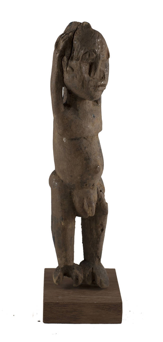 Vintage & Hand Carved, Old Lobi standing figure with upraised arms, Unique