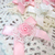 "4pcs Shabby Chic Layered Lace Doily Satin Rose Flower Bow - 1.75"" White/Pink"