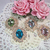 Bling Rhinestone Flower Center Brooch Embellishment Button - Lt.Green, Blue,