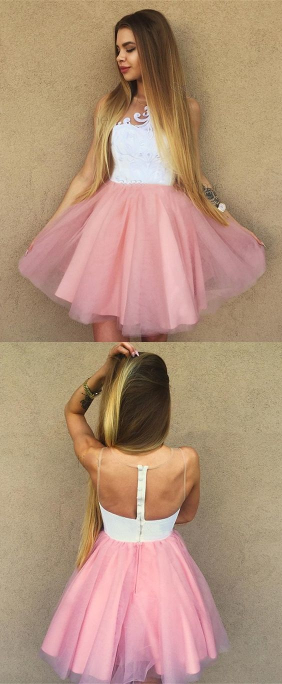 bc1c192010 A-Line Crew Above-Knee Pink Homecoming Party Dress by Hiprom on Zibbet