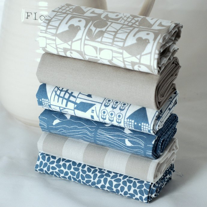 Fabric fat quarter bundle scandinavian prints - pure cotton - denim blue beige -