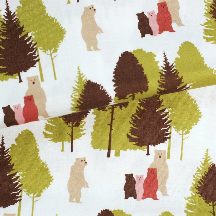 Cute Bear Print craft fabric - half meter - 100% Cotton -  59 inch wide -