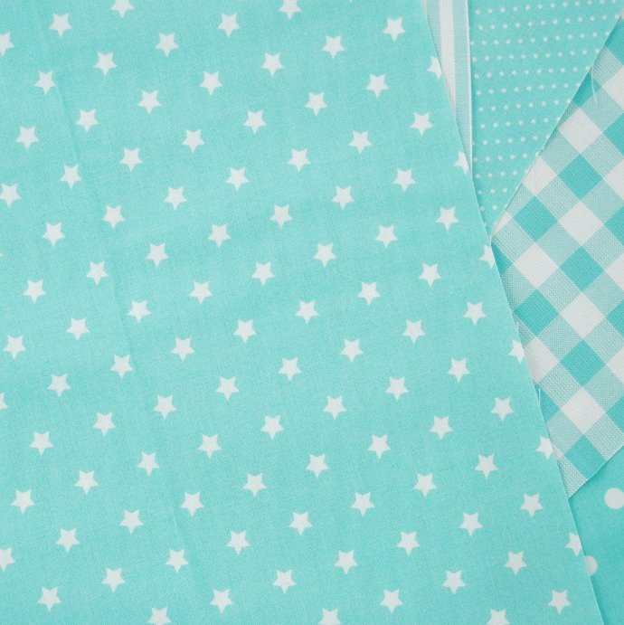 Turquoise Star print craft fabric - half meter - 100% cotton - 59 inch wide -