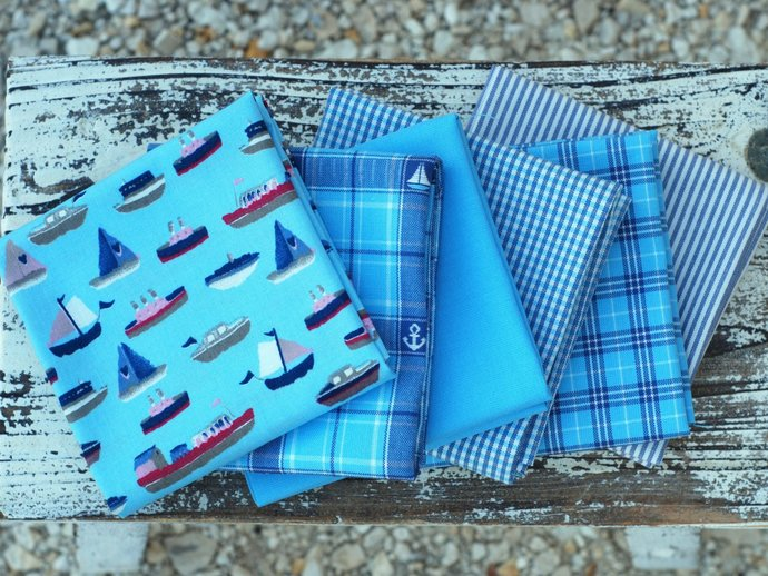 Blue Fat quarter fabric bundle - 100% cotton - beach house, nautical, yacht