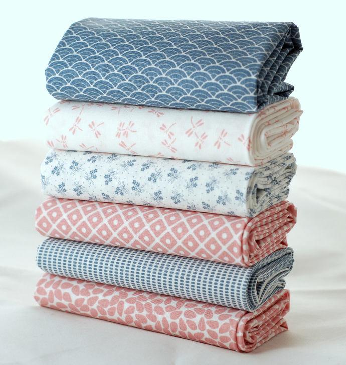Japanese print fat quarter fabric bundle - 100% cotton - powder pink soft mid