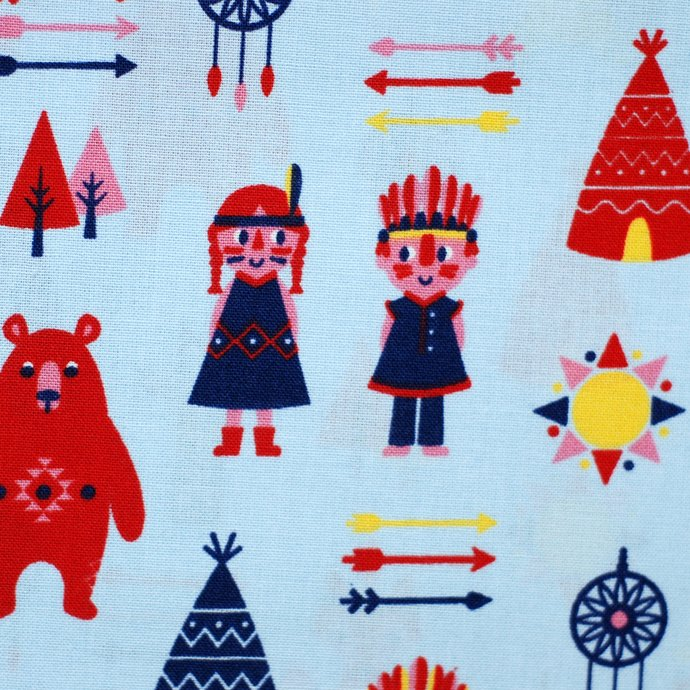 Indians & Teepees Craft Fabric - half meter - 59in width - 100% Cotton -