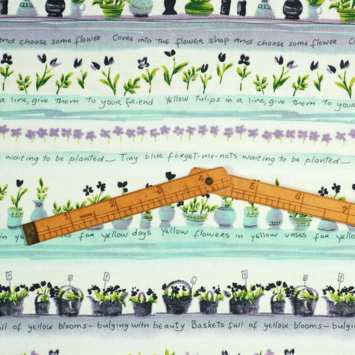 Lavender & Mint Green Flower Print craft fabric - half meter - 59 inch width -