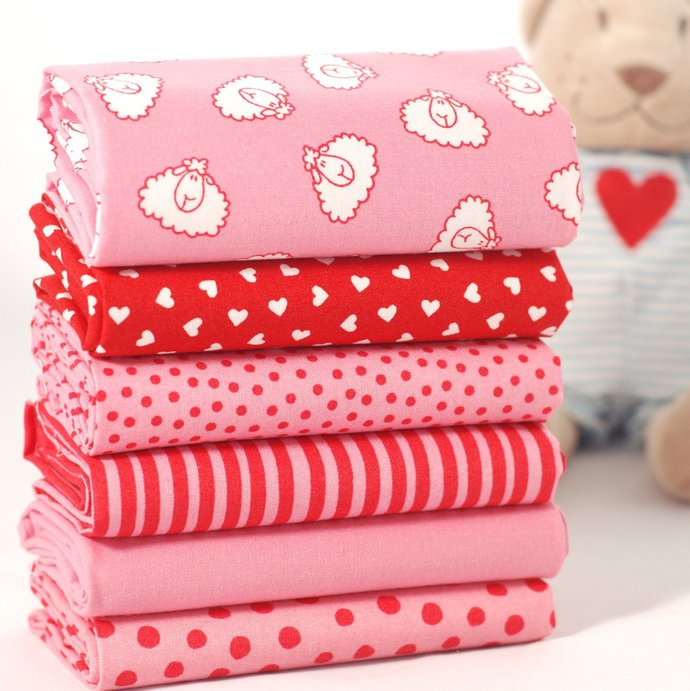 Polka dot pink Organic Fat Quarter - Baby Safe craft fabric - 100% Cotton -