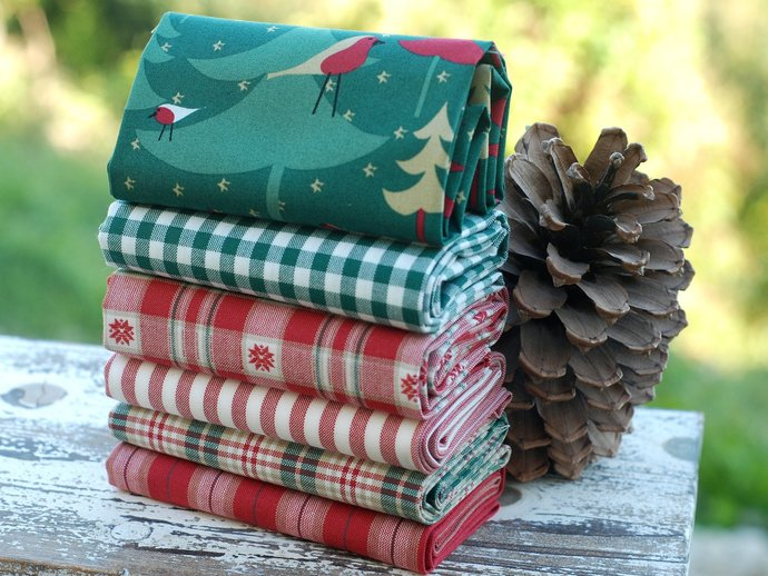 "Festive Christmas Tree fabric - half meter - extra wide 59"" - 100% Cotton -"