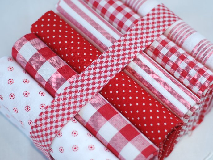 Red and White Check Bias Binding - Sold by meter - quilting binding, sewing