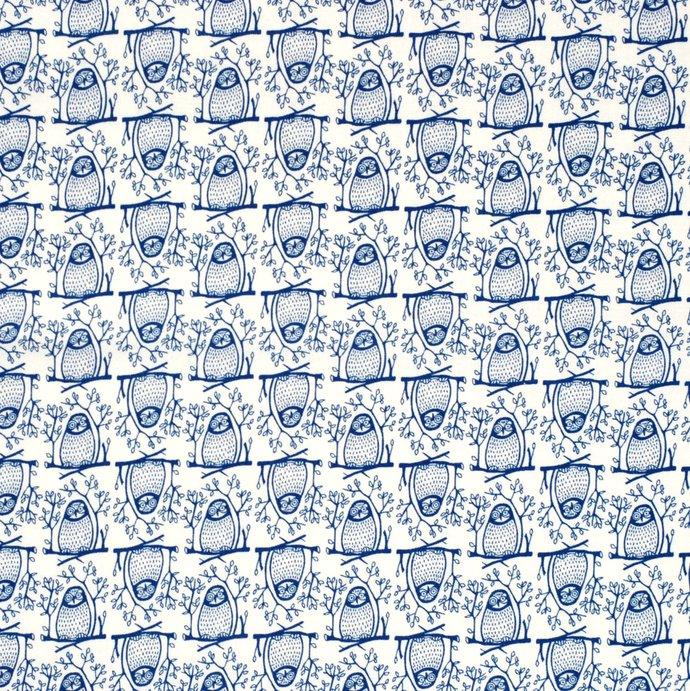 Owl Print craft fabric - half meter - 59 inch wid  100% Baby Safe Cotton - navy