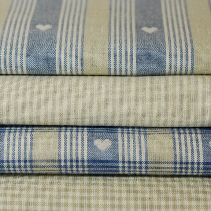 Soft beige woven stripe fabric - half meter - 100% cotton - 59 inch wide -