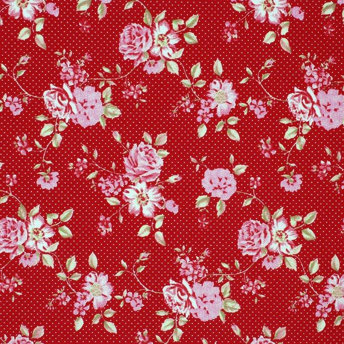 Rose Garden 6 Fat quarter fabric bundle 100% cotton - raspberry taupe rose