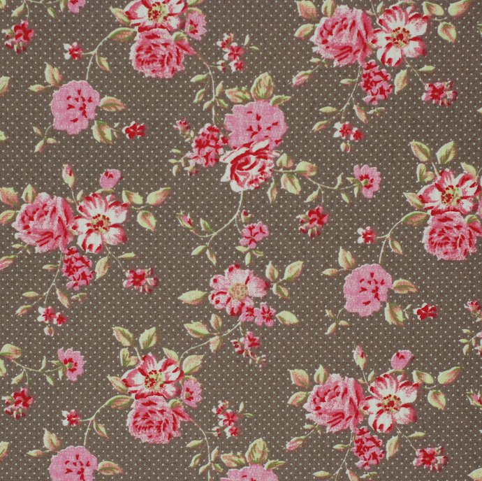 Rose Garden 6 Fat quarter fabric bundle 100% cotton - raspberry taupe rose
