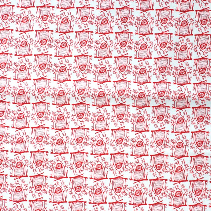 Owl Print fabric - half meter - 59 inch wide - 100% Baby Safe Cotton - red on