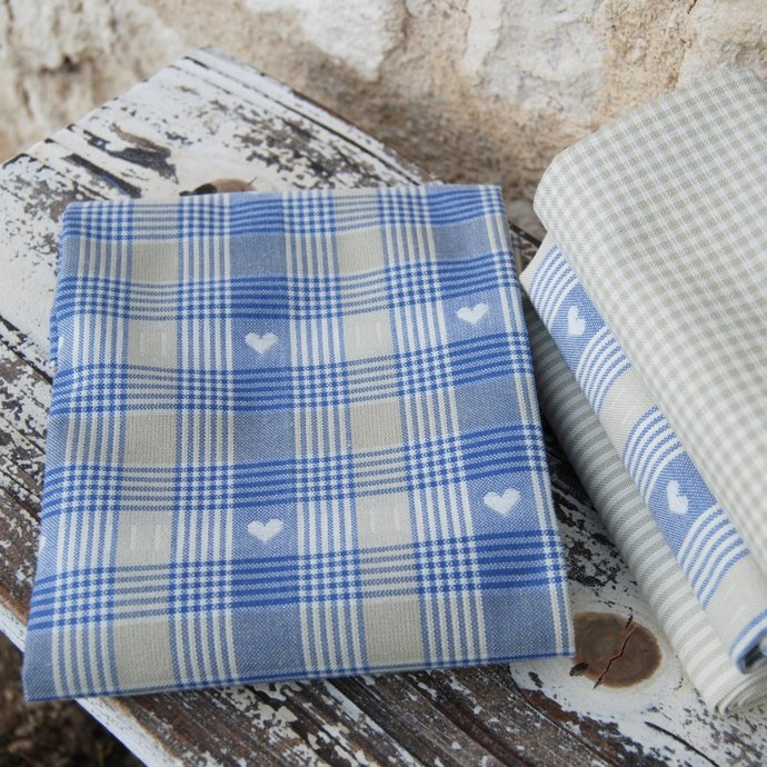 """Blue woven hearts and checks fabric - half meter - 100% cotton - 59"""" extra wide"""
