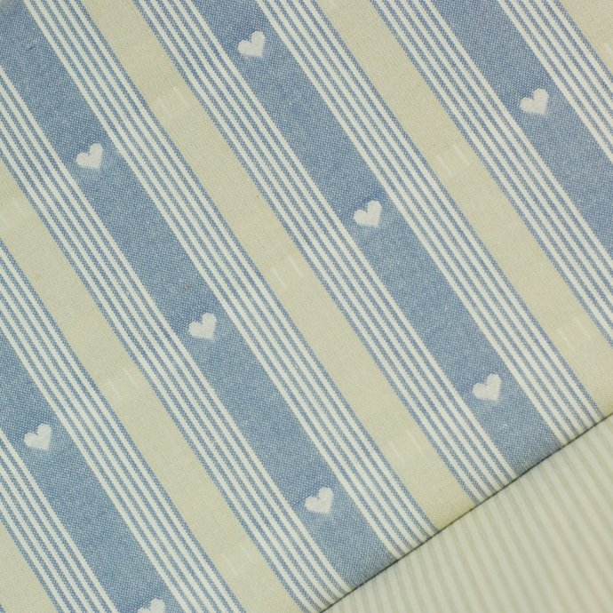 Blue woven hearts & stripes fabric - half meter - 100% cotton - 59 inch wide -