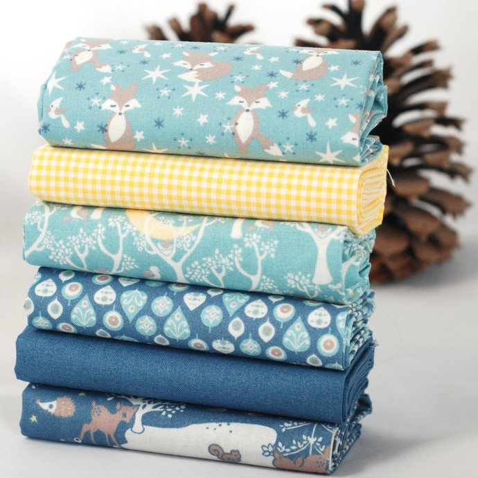 6 Fat quarter fabric bundle - 100% cotton - blue & yellow - animal woodland