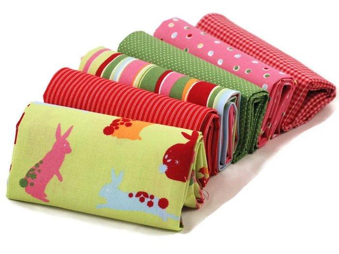 Indian Summer 6 Fat quarter fabric bundle 100% cotton - stripes checks dots