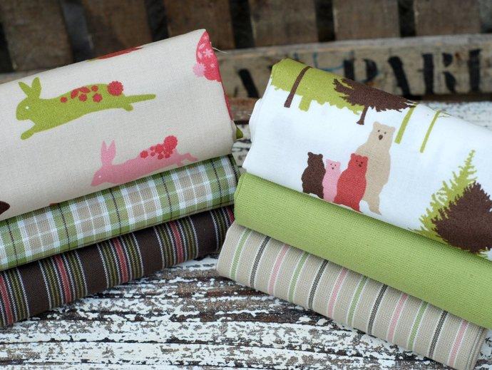 Fat quarter fabric bundle - Cute teddy bears & Easter bunny rabbits - 100%