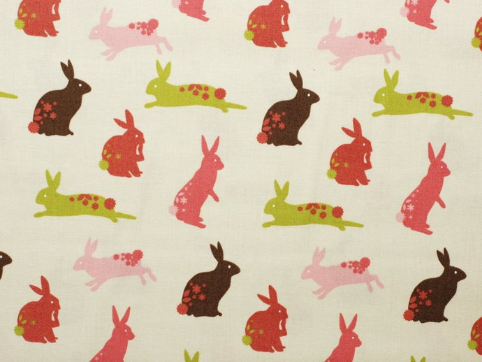 Fat quarter fabric bundle - Cute teddy bears & Easter bunny rabbits - 100%