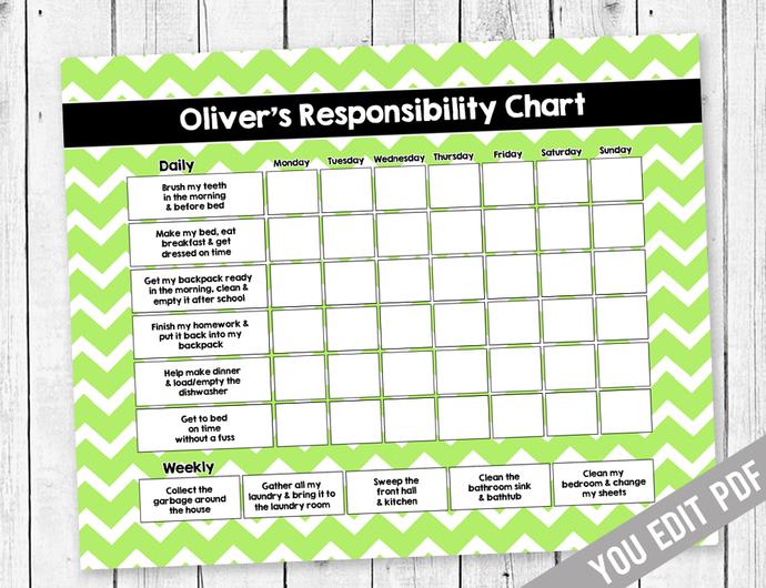 Chore chart for Teens, Reward Chart, Responsibility Chart, Weekly Chore Chart,
