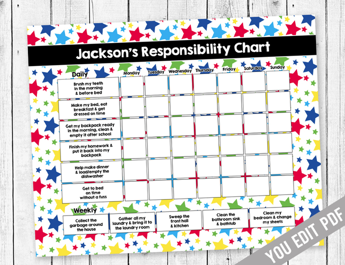 image about Printable Job Chart called Printable Chore Chart, Profit Chart, Obligation Chart, Weekly Chore Chart, Practices Chart, Neon Young children chore chart printable, By yourself EDIT PDF