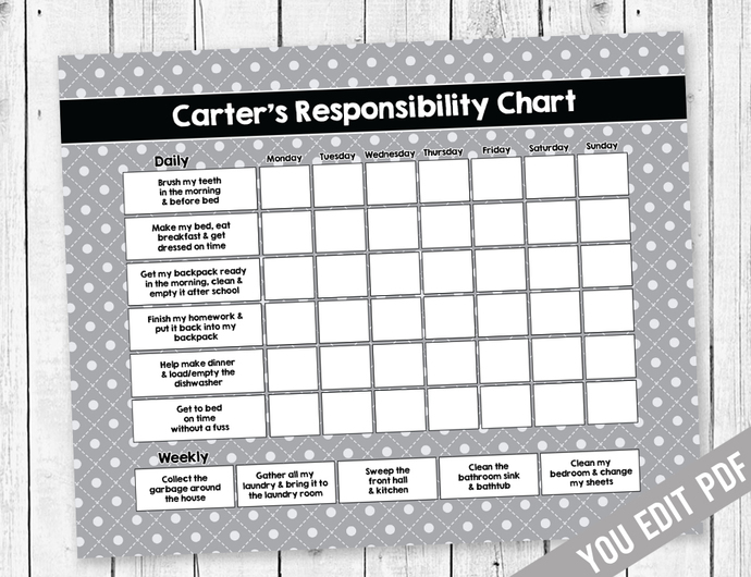 Teen chore chart, Reward Chart, Chore chart, Responsibility Chart, Weekly Chore