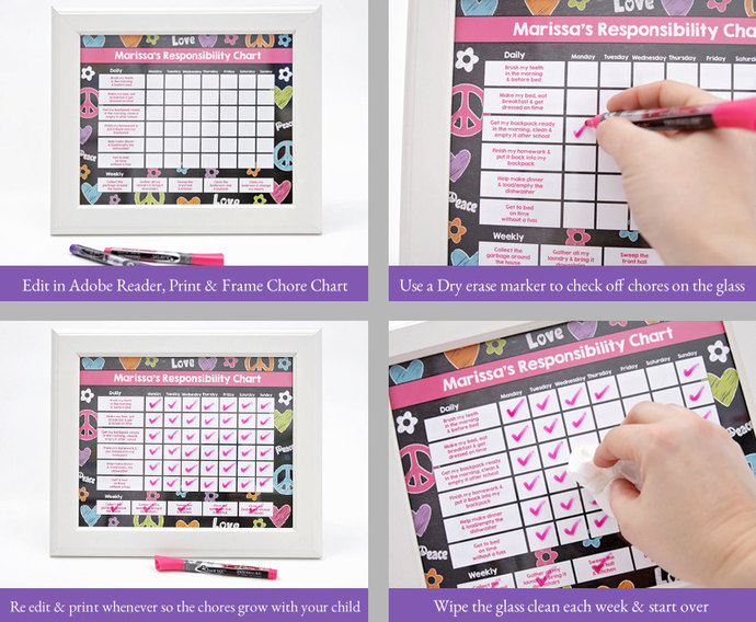 Teen Chore chart, Teen Chore Chart, Incentive Chart, Allowance Chart, Weekly