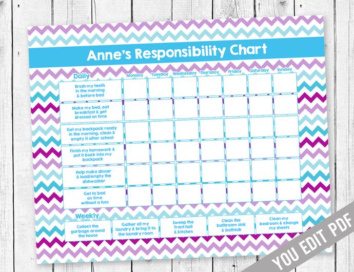 Chore chart for Girls, Reward Chart, Responsibility Chart, Allowance Chore