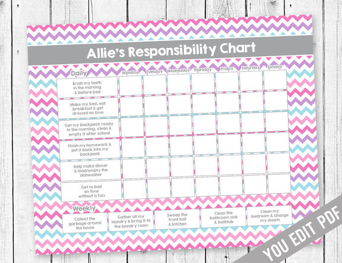 Girl Chore Chart, Reward Chart, Responsibility Chart, Allowance Chore Chart,