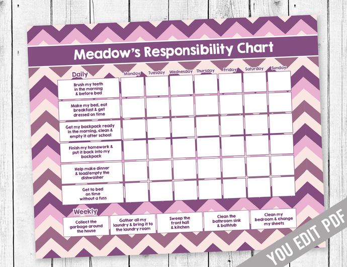 Kids Chore chart, Reward Chart, Responsibility Chart, Weekly Chore Chart,