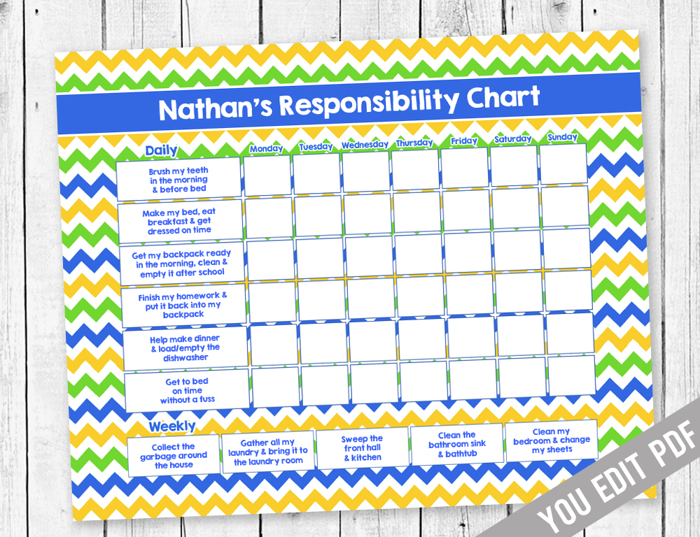 This is a picture of Dynamic Printable Chore Charts for Teens