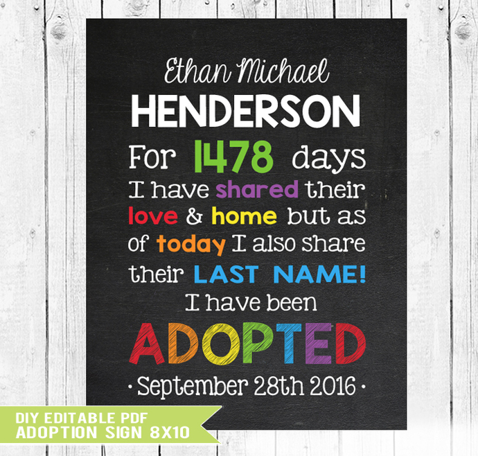 Adoption sign, Adoption Gifts, Foster Care, Adoption Announcement, Adopted Sign,