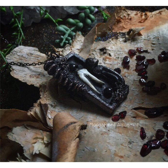 Coyote Tooth & Garnet with Sculpted Mushrooms set in dark Copper - life after