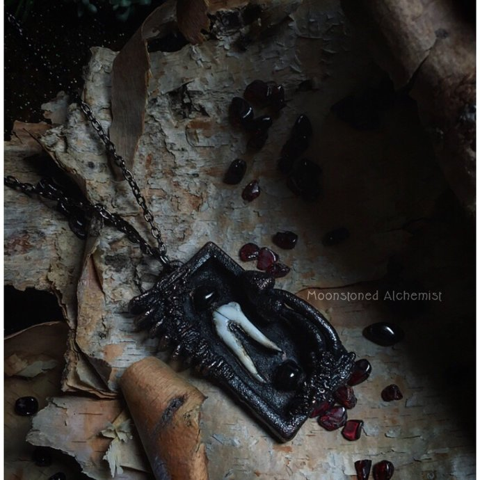 SALE Coyote Tooth & Garnet with Sculpted Mushrooms set in dark Copper - life