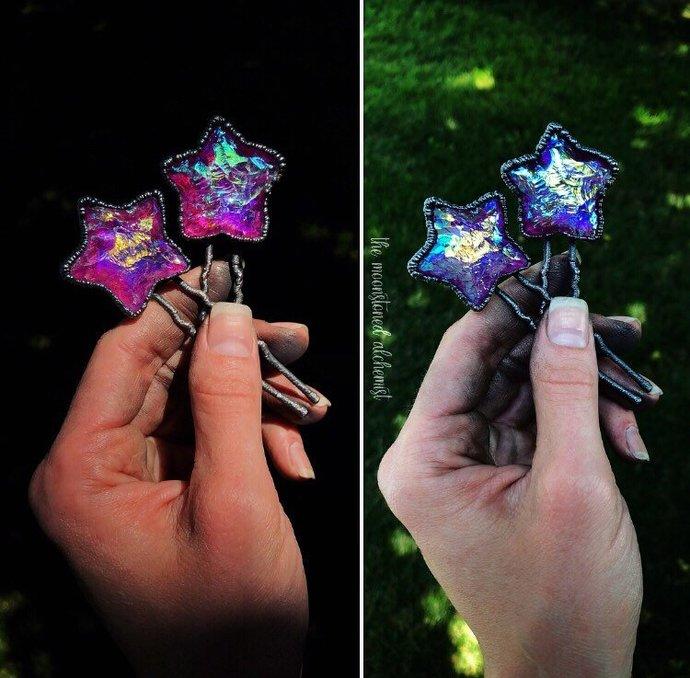 Aura Quartz Hair Pin - hand chipped aura quartz star set in hand forged copper -