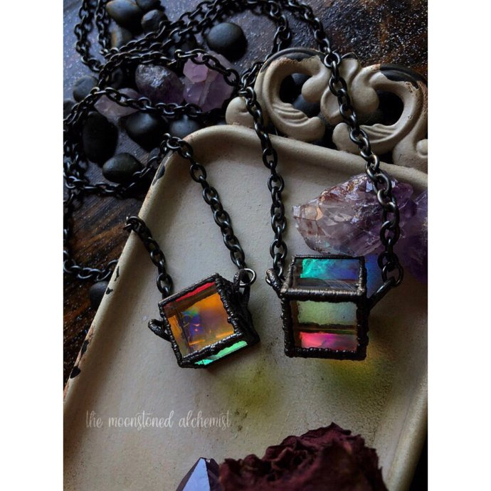 Pandora's Amulet Light Reflecting Glass Holographic Cosmos necklace- Galaxy