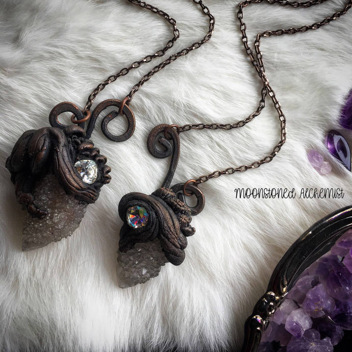 Rooted crystal cluster necklaces with mushrooms and Swarovski Crystals / Spirit