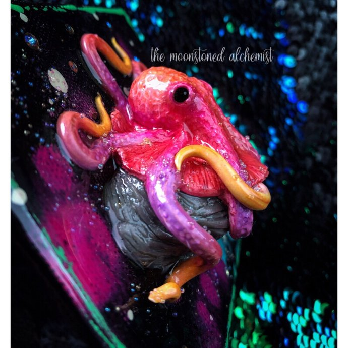 ON SALE! Hand Sculpted Octobabe on painted canvas - Sunset Octopus mixed media