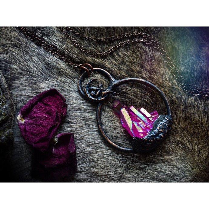 Aura quartz cluster amulet with fairy - pink aura quartz crystal pendant -