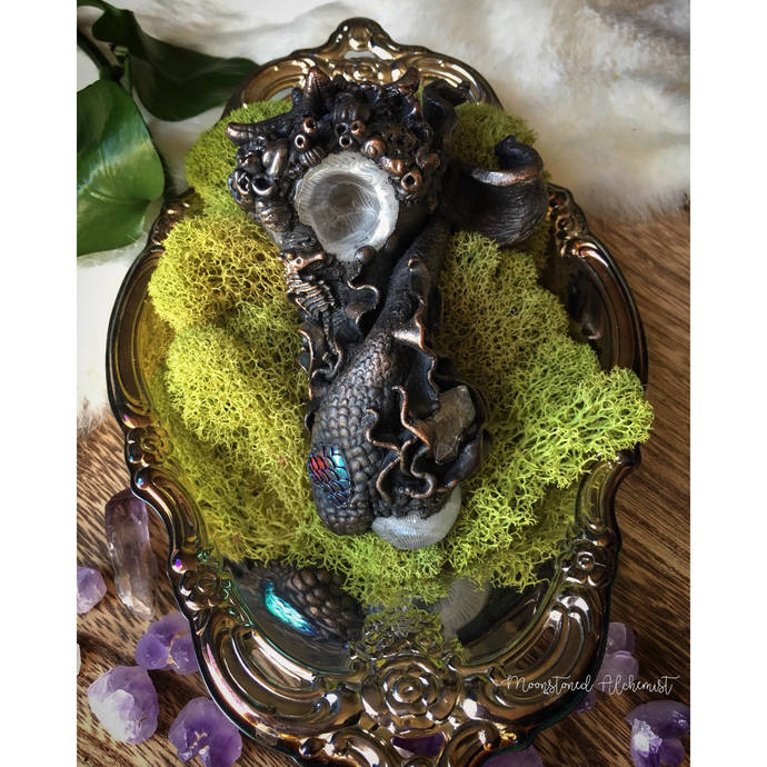 Sculpted Mermaid Pipe w/ Quartz Crystal, Real Starfish, seahorse, and coral over