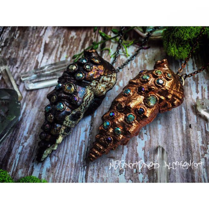 Mermaid Treasure Rhinestone Encrusted Shells Electroformed with Copper - rustic