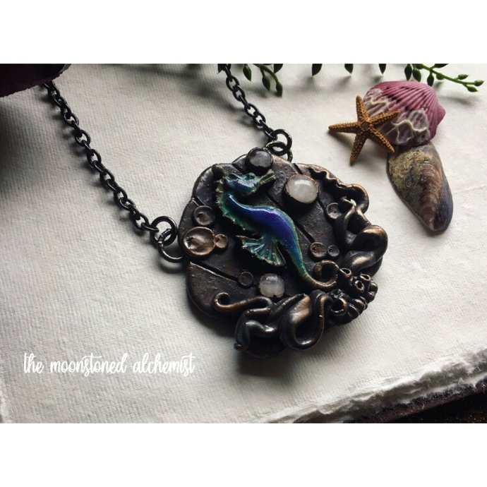 Moodring Seahorse Amulet with three Moonstone Crystals - hand sculpted Clam