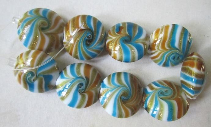 Glass Swirl Lentil Beads