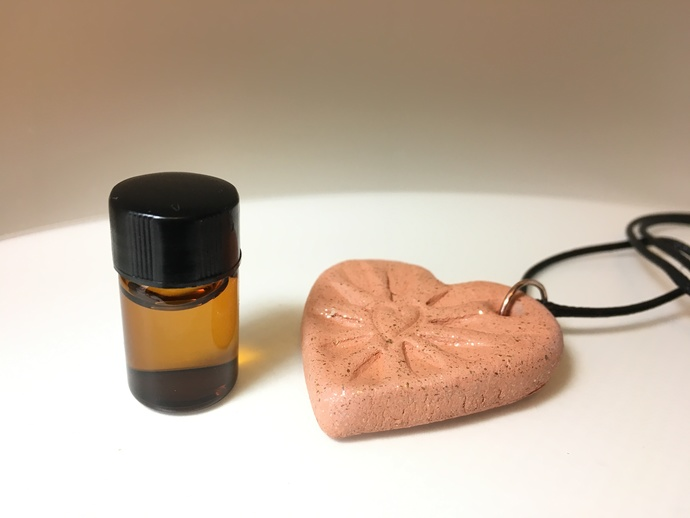 Essential Oil Clay Diffuser, Heart Pendant,  Mica Clay, Micaceous Clay, Car